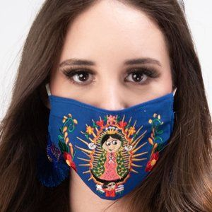 Our Lady of Guadalupe Face Mask Embroidered Blue